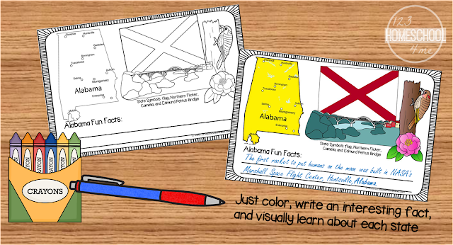 united states - kids color and fill in the blank to visually learn about all fifty states