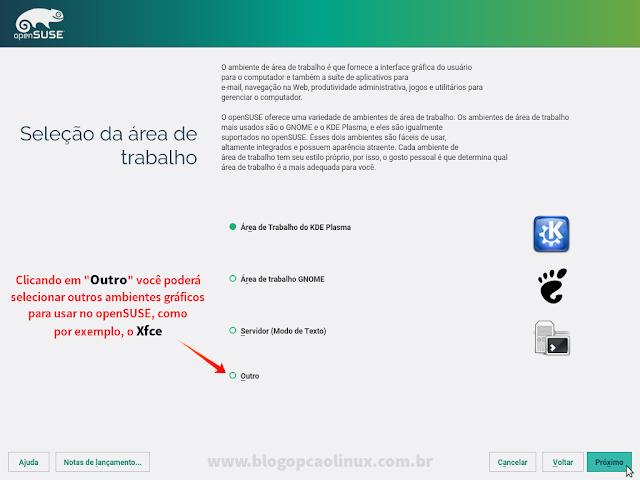 Etapa de seleção de ambiente gráfico a ser utilizado no openSUSE Leap 42.2