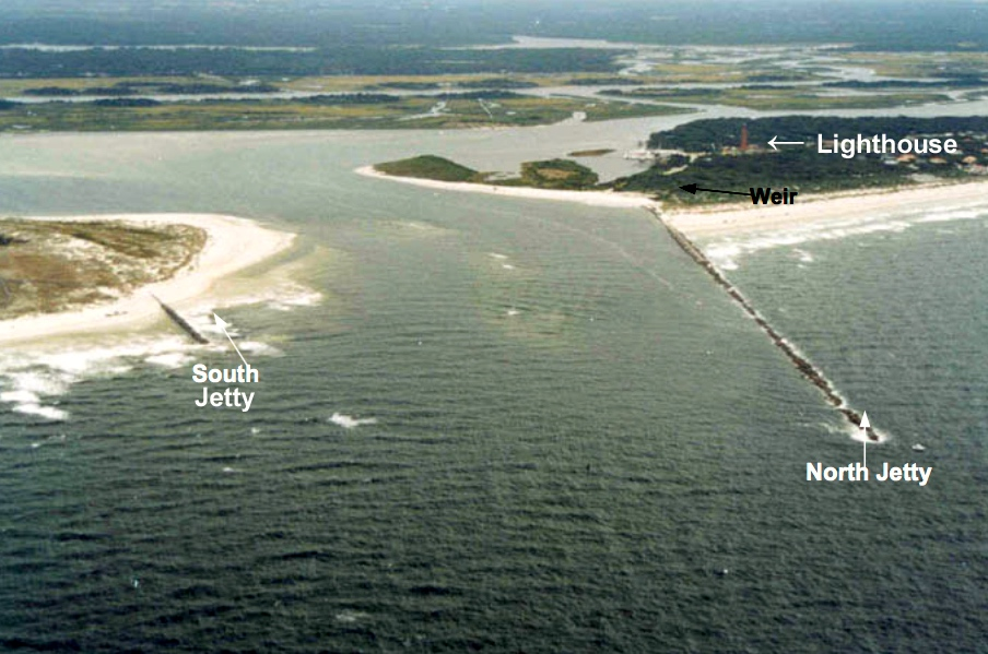 Ponce De Leon Inlet Florida December 13 1995 The Mile Long South Jetty Is Completely Covered With Sand While North Has