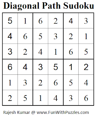 Diagonal Path Sudoku (Mini Sudoku Series #54) Solution