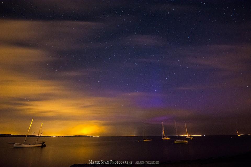 Zorza polarna sfotografowana w noc z 01 na 02.09.2016 r. Rewa, pomorskie. Autor: Marek Stan
