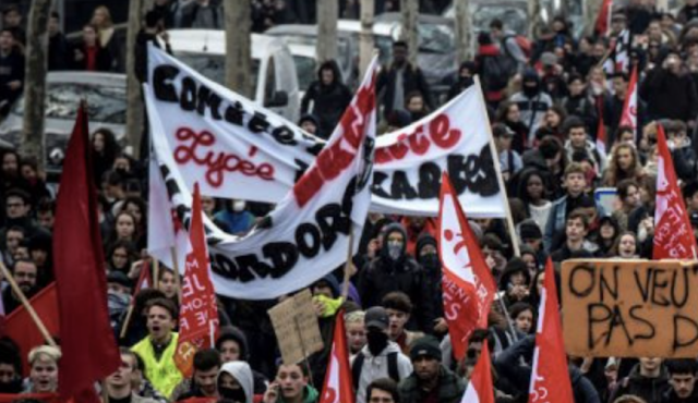 Riding wave of social unrest, French high-school students vow 'Black Tuesday' protests