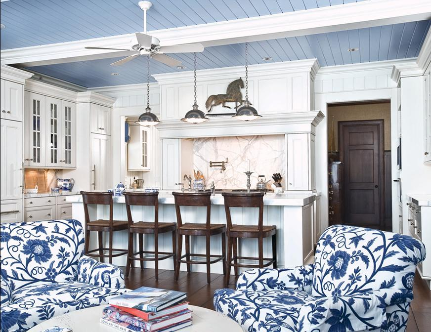 Country Style Kitchens With Cobalt Blue Cabinets And Ceiling Beams