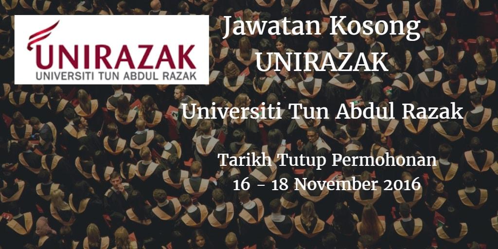 Jawatan Kosong UNIRAZAK 16 - 18 November 2016