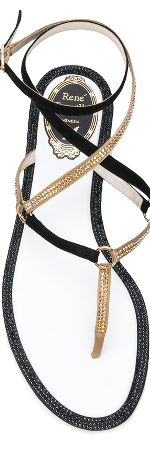 RENÉ CAOVILLA Embellished Leather Thong Sandals