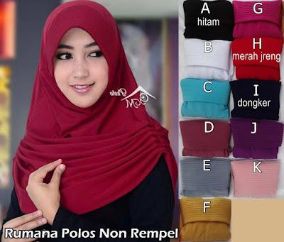 grosir jilbab Rumana Polos tanpa rempel