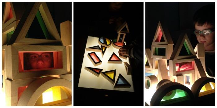 mesa de luz, diy, barata, fácil, portátil con bloques de arcoiris