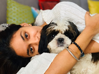 Keerthy Suresh in White Dress with Cute and Awesome Lovely Smile with her Cute Dog