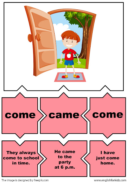 English for kids irregular verbs flashcards come