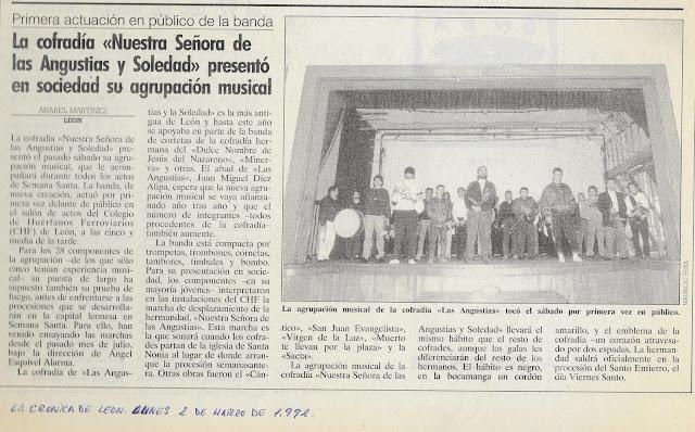 Presentación de la Agrupación Musical de la Cofradía de Nuestra Señora de las Angustias y Soledad el 29 de febrero de 1992. Foto cortesía de Francisco Javier Núñez.