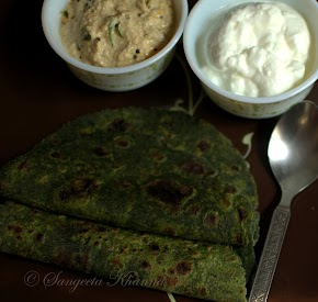 unusual greens : Bathua (Chenopodium greens) : a paratha and a raw chutney..
