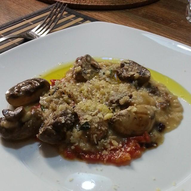Risoto de cogumelos e costela de boi desfiada sobre cama de purê de tomates