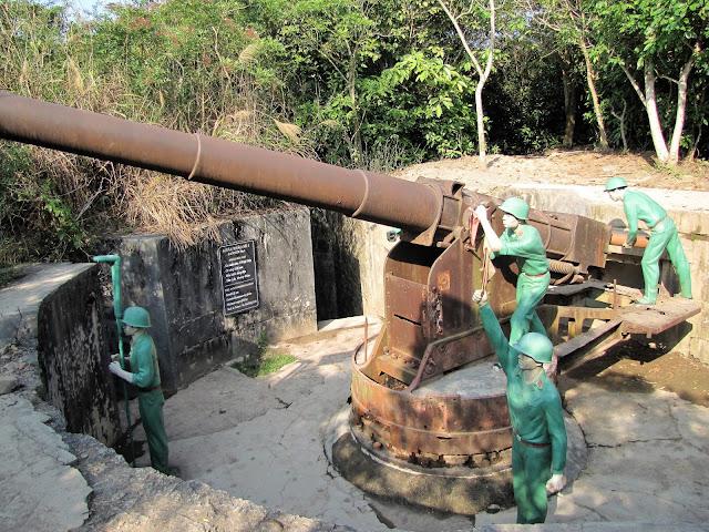 naval defense gun cannon fort cat ba halong bay vietnam