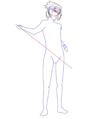 menggambar sasuke uchiha black costume langkah 11