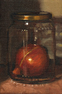 Oil painting of a brown onion in a glass jar with metal lid.