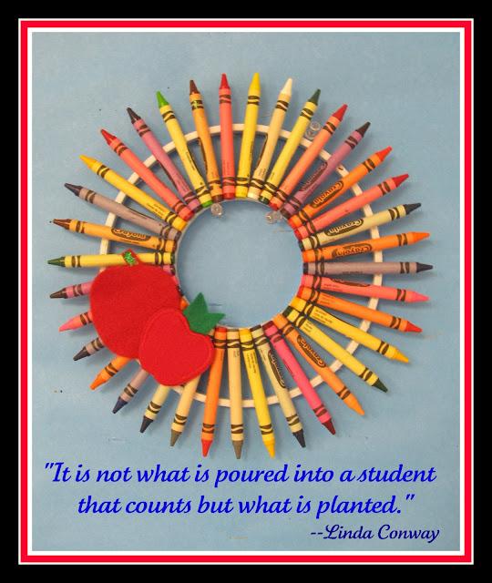 welcome wreath for school, crayon wreath, Pinterest image, Pinterest permission