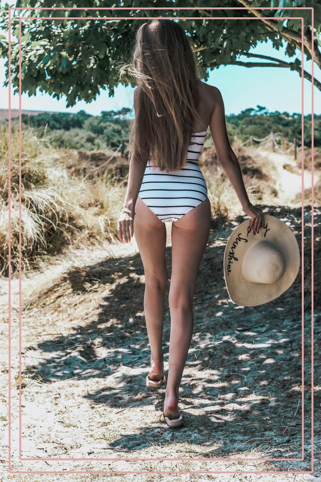 Seafolly Castaway White Stripe Bandeau Swimsuit
