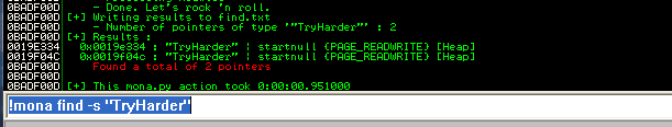 TryHarder was found on the HEAP