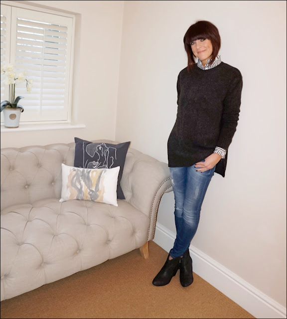 MY MIDIFE FAShion, zara skinny distressed jeans, hm oversized jumper, stripe ruffle blouse, ash jess suede ankle boots