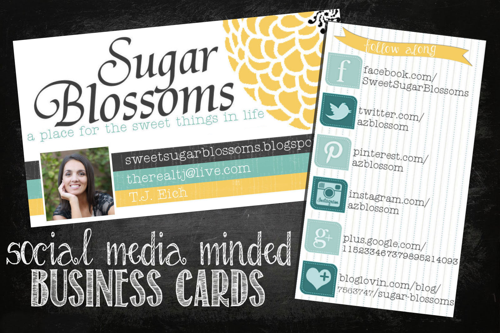 Sweet Sugar Blossoms: Social Media Business Cards