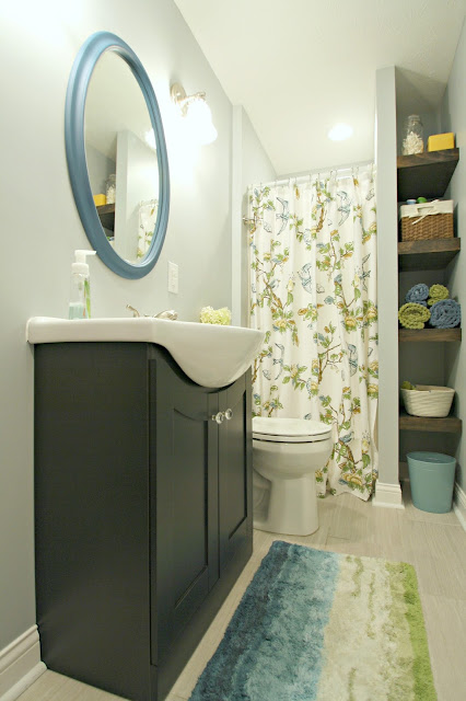blue green bathroom makeover