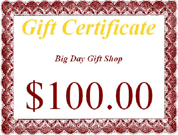 christmas gift 100 Gift Certificate Template