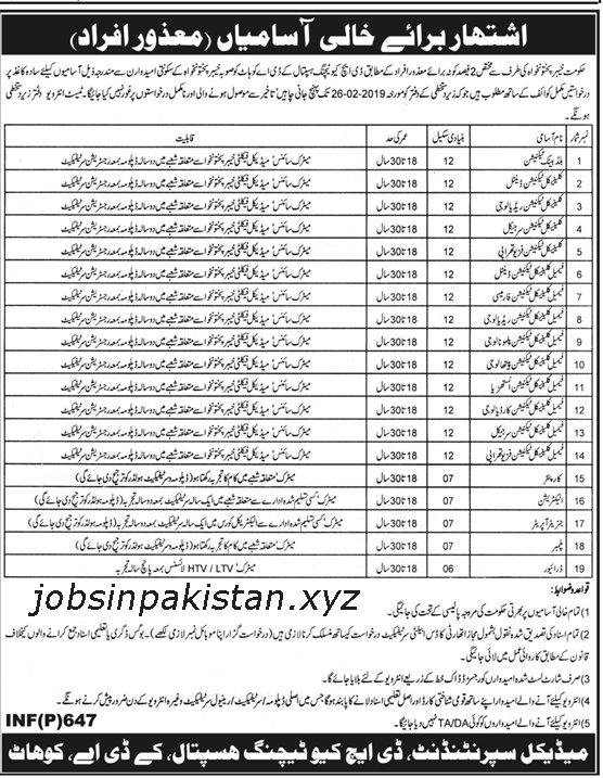 Advertisement for DHQ Hospital Kohat Jobs
