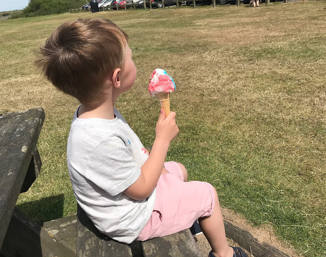 Jacob enjoying an ice cream at the beach