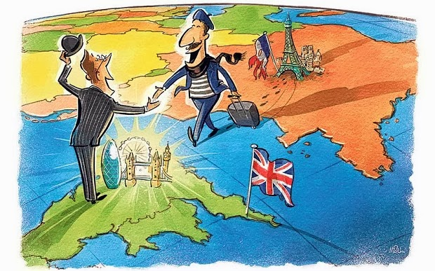 Englishman welcoming Frenchman on a Map of England and France