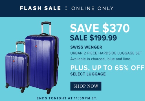 Hudson's Bay Flash Sale Swiss Wenger Urban 2 Piece Luggage Set $370 Off + Up To 65% Off Select Luggage