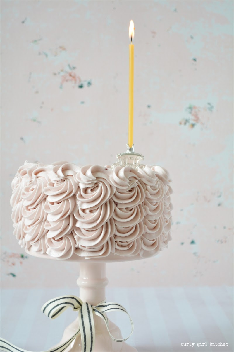 Passionfruit Tea Cake, Raspberry Buttercream, Swirled Buttercream Cake, Silver Carriage Cake Topper, Curly Girl Kitchen