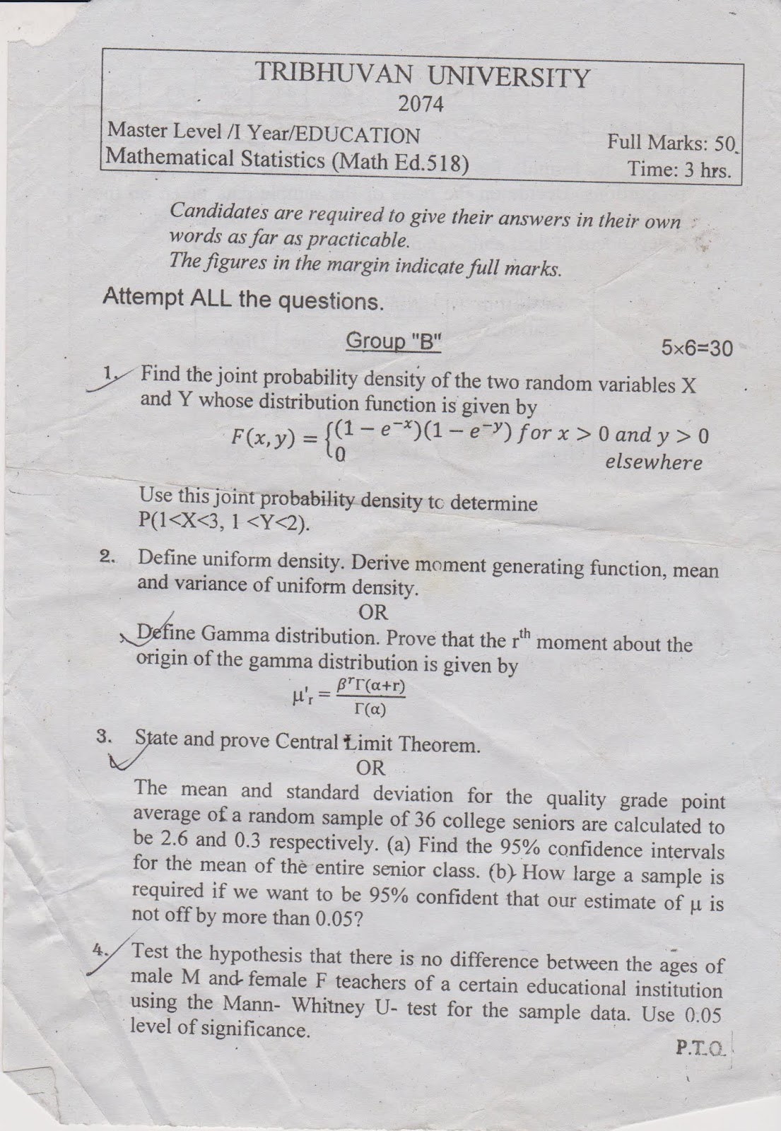 MEd First Year, Mathematical Statistics Question Paper