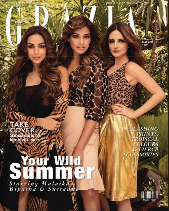 Bipasha, Malaika and Sussane Roshan on Cover of Grazia India May 2017