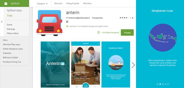 Anterin, Aplikasi Layanan Logistik, Pergudangan, dan Transportasi