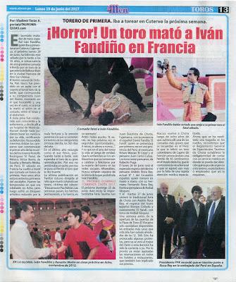 diario El Men Lima Peru Lunes 19 junio 2017 pagina toros