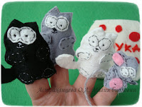 пальчиковый театр Сутеев Три котенка, фетр, мышь, мука