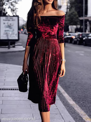 Off Shoulder Backless Elastic Waist Ruffled Hem Plain Evening Dresses