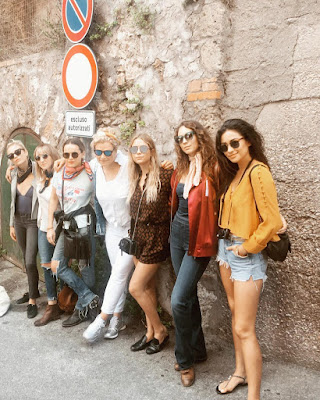 PLL actresses Ashley Benson, Shay Mitchell, Troian Bellisario and Lulu Brud Zsebe in Italy for Troian's bachelorette party