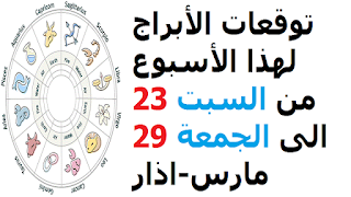 توقعات الأبراج لهذا الأسبوع من السبت 23 الى الجمعة 29 مارس-اذار 2019