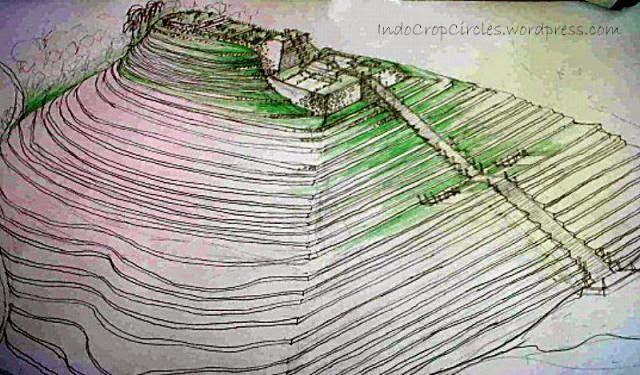 Representación artística de la Pirámide de Gunung Padang en el pasado.