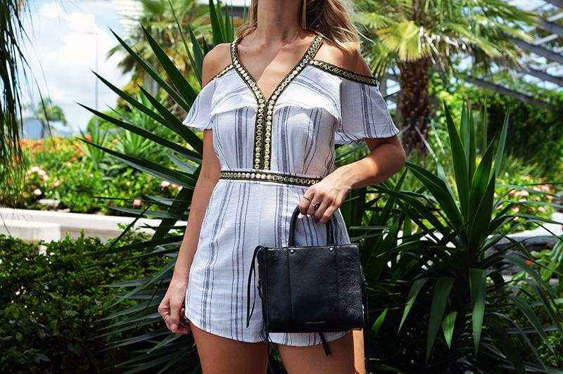 boho seven wonders playsuit rebecca minkoff black tassel bag summer outfit
