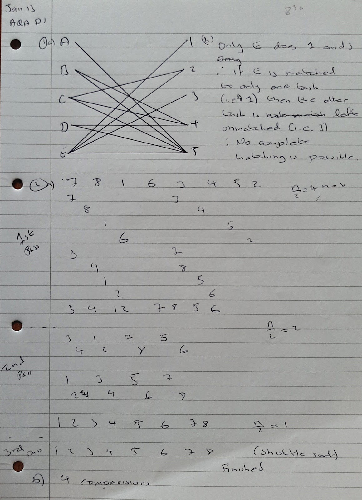 A Level Maths Notes: AQA Decision 1 (D1) Winter 2013 Exam