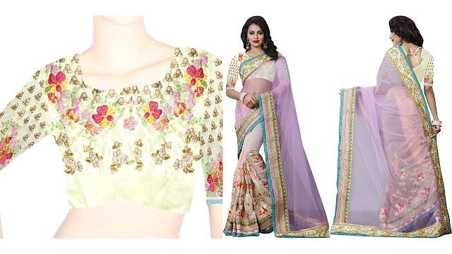 Kataria Fashion Embroidered Fashion Georgette, Net Saree  (Pink, Beige)