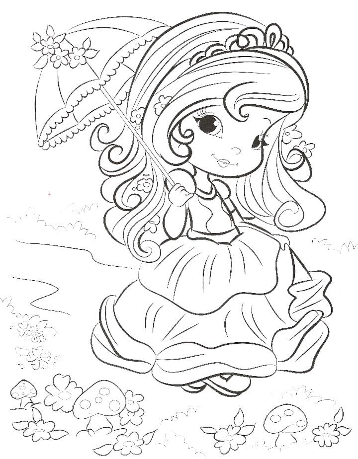 Dibujo para colorear de princesita con sombrilla