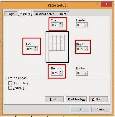 mengatur margin untuk print di ms excel 2013