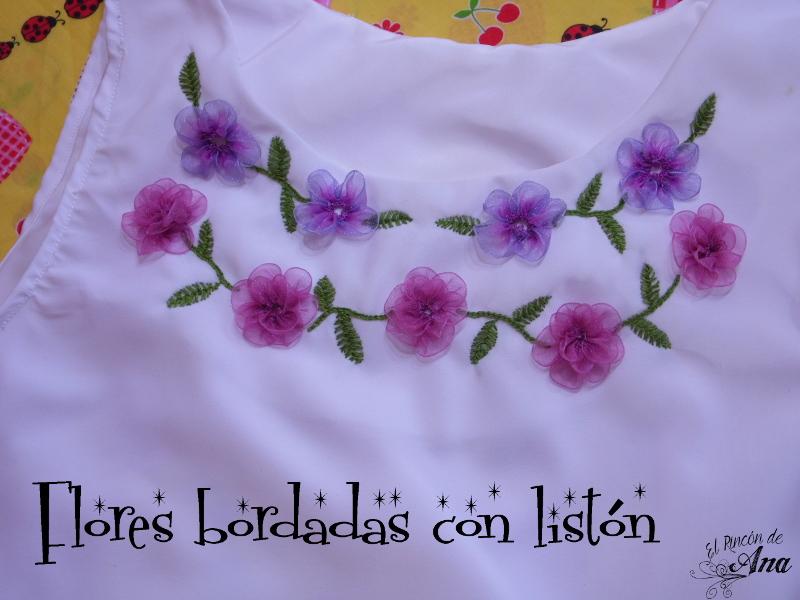Vestido con flores bordadas con listón
