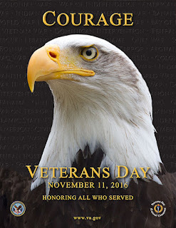 Image of an eagle on a poster commemorating Veterans Day 2016