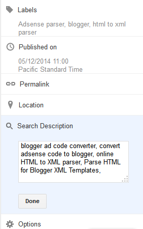 enter Search Description for Blogger and Blog Posts