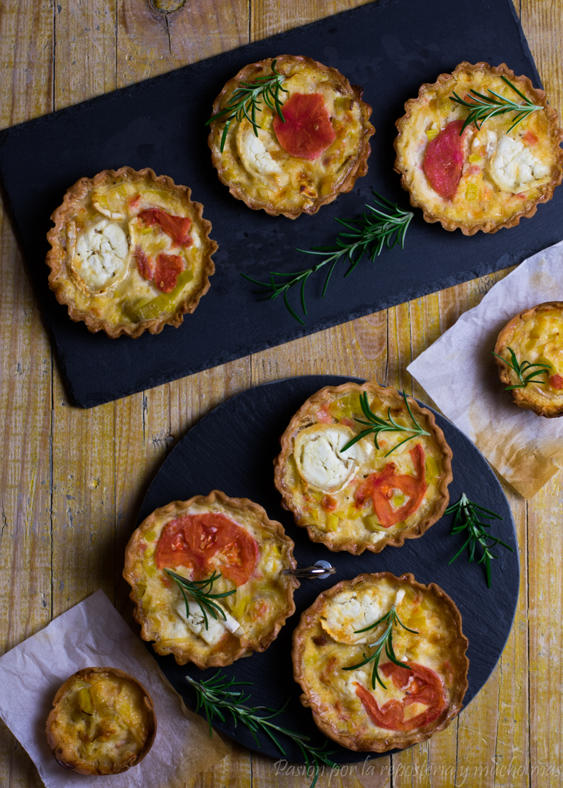 Quiches de puerro, tomate y queso de cabra