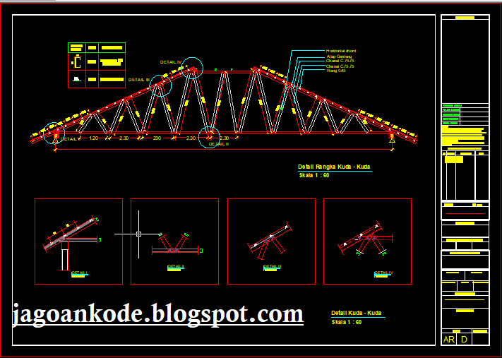 Detail Kuda Kuda Atap Baja Ringan Autocad Dwg Jagoan Kode